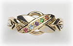 4-Band Mother's Puzzle Ring with Birthstones