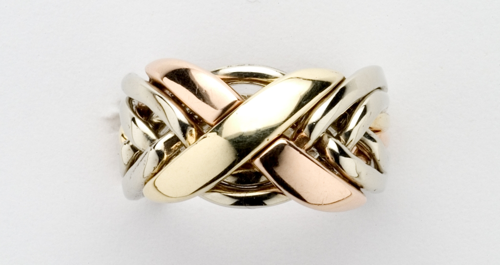 6nx Ladies Puzzle Ring Gold Silver Or Platinum Ships Free