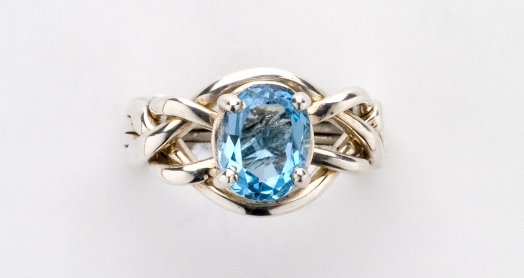 4BT Blue Topaz Ladies Sterling Ring p puzzle wedding rings Home Puzzle Rings 4BT Blue Topaz Ladies Sterling Ring
