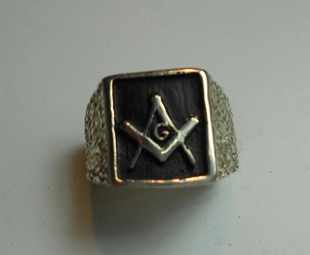G002RZ Men's Rectangular Masonic Ring - Gold, Silver or Platinum - Ships  Free!