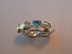 3CL with Blue Topaz Heart Ladies Puzzle Ring