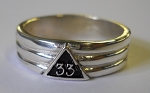 Fluted 33rd Degree Mens Masonic Ring