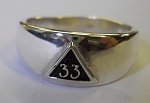 Small Mason 33rd Degree Signet Mens Masonic Ring