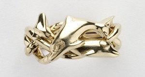 4DL Mens Puzzle Ring Dolphin