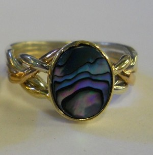 4PS Paua Shell Ladies Puzzle Ring