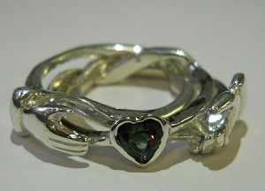 3CL with Mystic Topaz Heart Ladies Puzzle Ring