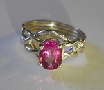 4PT Pink Topaz Ladies Puzzle Ring