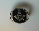 Masonic Cushion Mens Ring