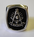 Masonic Past Master Cushion Shaped Mens Ring