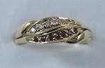 3CHWBD Ruby Dia .10ct Ladies Puzzle Ring