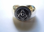 Masonic Round Puff Signet Mens Ring