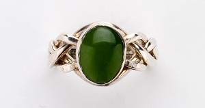 4NJ Nephrite Jade Ladies Puzzle Ring