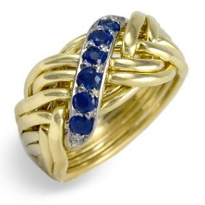 8WBD Sapphire .25ct Mens Puzzle Ring