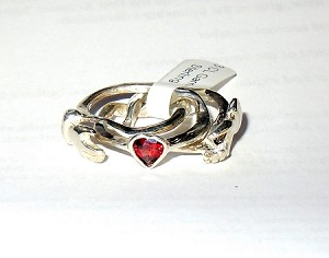 3CL with Garnet Heart Ladies Puzzle Ring