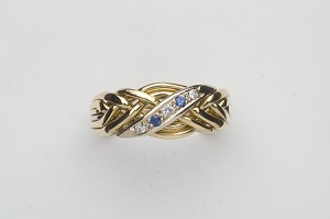 6WBD Sapph Diam .06ct Ladies Puzzle Ring